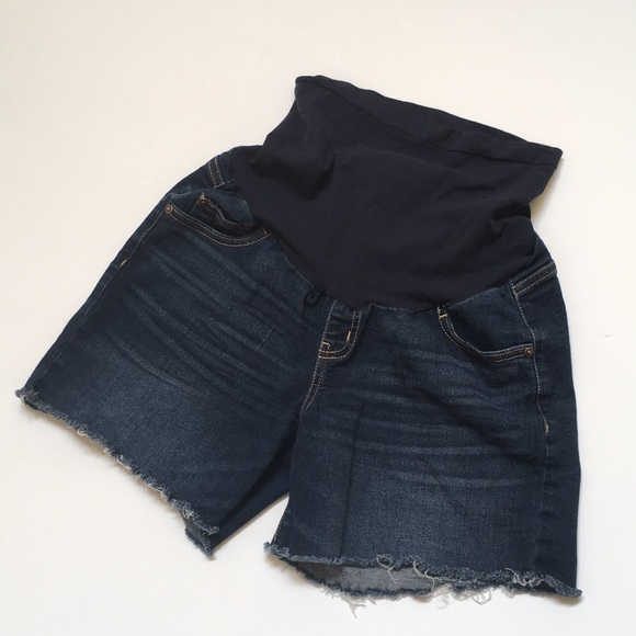 67de91ee3f4a6 Indigo Blue Pants - Maternity shorts frayed hem dark wash belly band